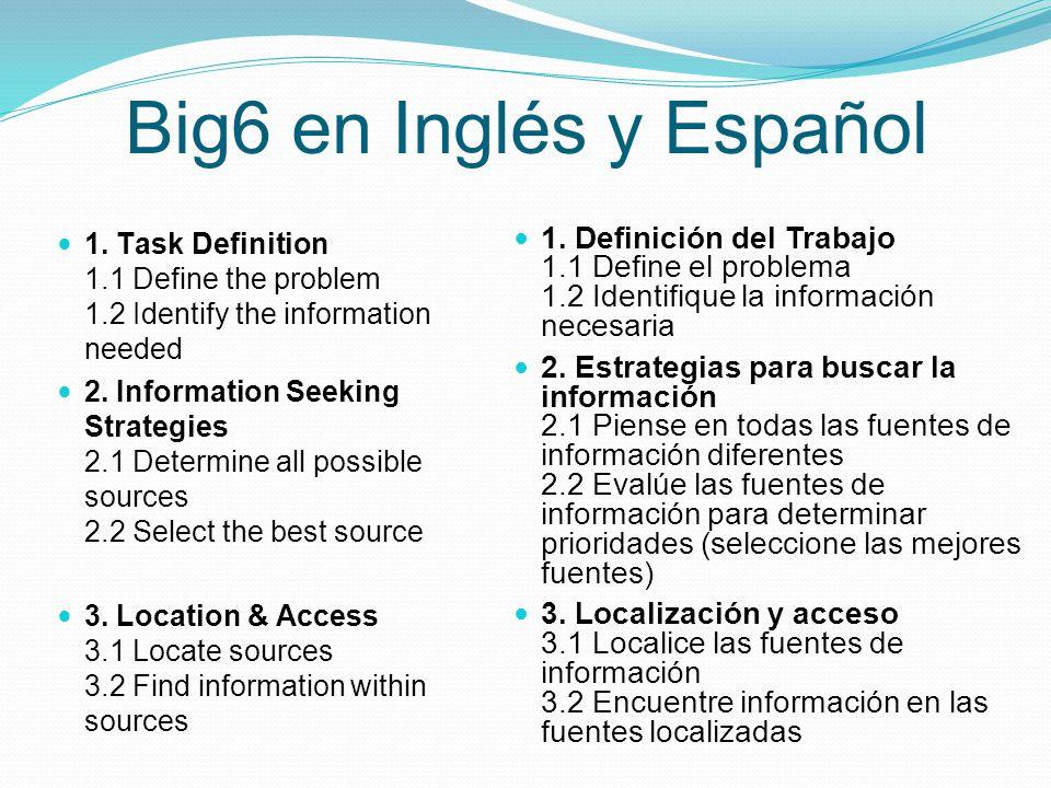 Big6 en Inglés y Español 1. Task Definition 1.1 Define the problem 1.2 Identify the information needed.