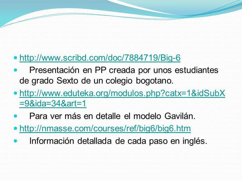 http://www.scribd.com/doc/7884719/Big-6 Presentación en PP creada por unos estudiantes de grado Sexto de un colegio bogotano.