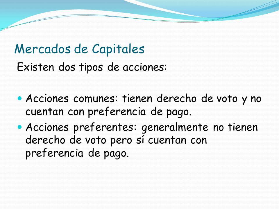 Mercados de Capitales Existen dos tipos de acciones: