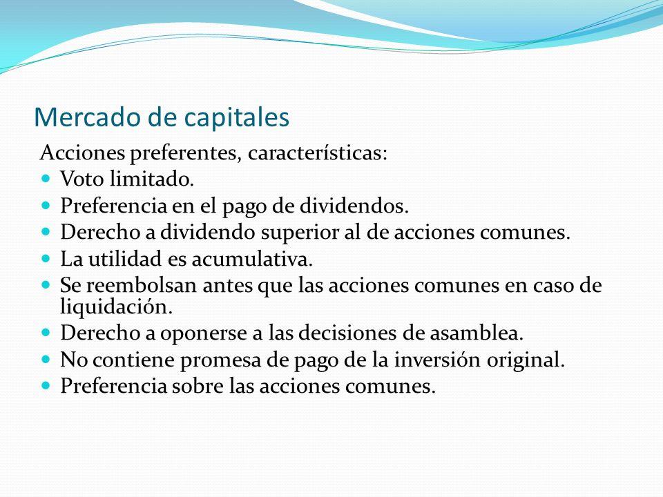 Mercado de capitales Acciones preferentes, características: