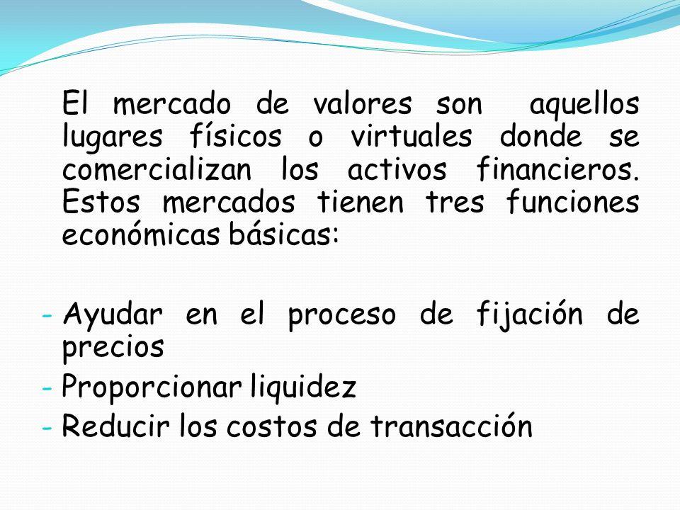 Ayudar en el proceso de fijación de precios Proporcionar liquidez