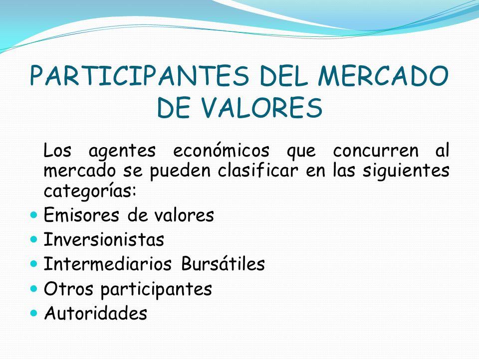 PARTICIPANTES DEL MERCADO DE VALORES