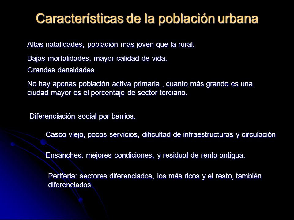 Características de la población urbana