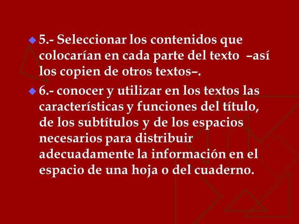 5.- Seleccionar los contenidos que colocarían en cada parte del texto –así los copien de otros textos–.