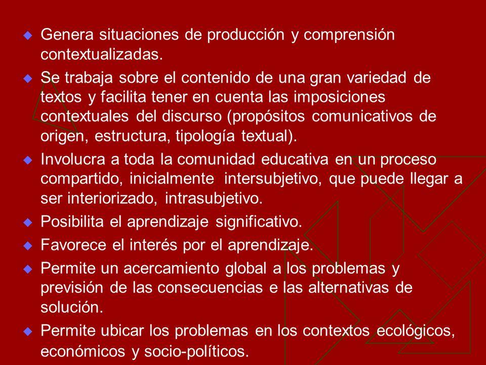 Genera situaciones de producción y comprensión contextualizadas.