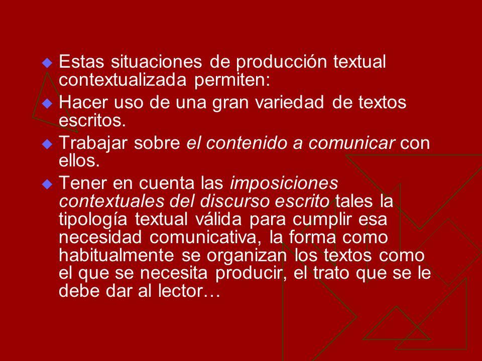 Estas situaciones de producción textual contextualizada permiten: