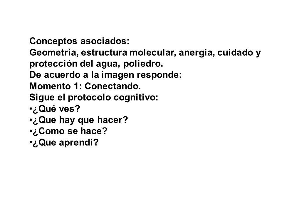 Conceptos asociados: Geometría, estructura molecular, anergia, cuidado y. protección del agua, poliedro.