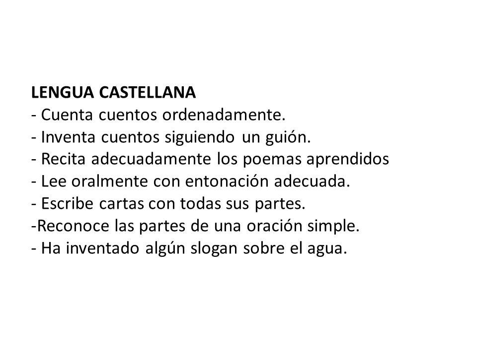LENGUA CASTELLANA - Cuenta cuentos ordenadamente. - Inventa cuentos siguiendo un guión. - Recita adecuadamente los poemas aprendidos.