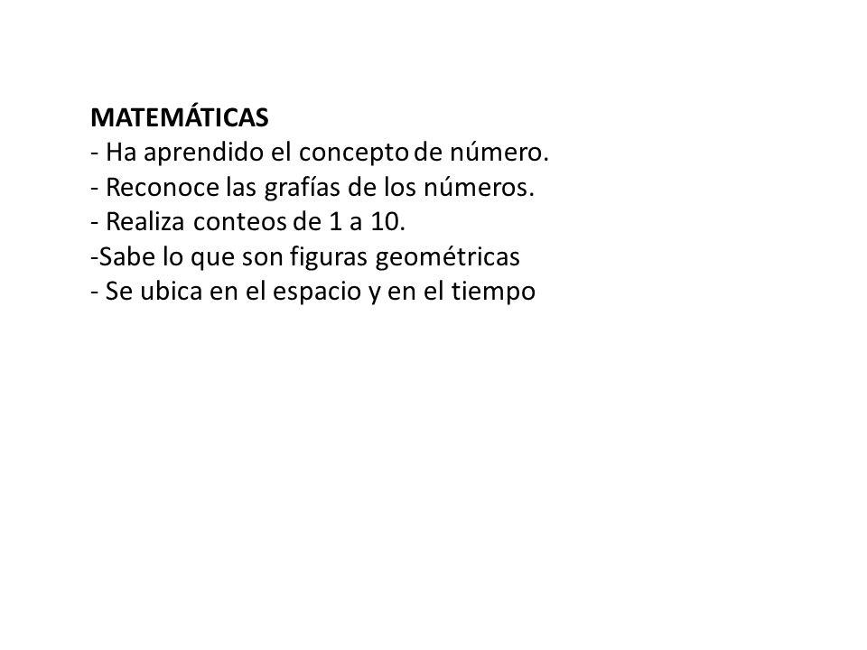 MATEMÁTICAS- Ha aprendido el concepto de número. - Reconoce las grafías de los números. - Realiza conteos de 1 a 10.