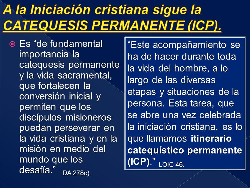 A la Iniciación cristiana sigue la CATEQUESIS PERMANENTE (ICP).