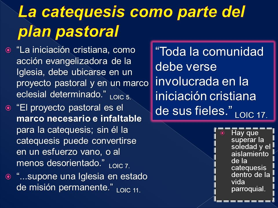 La catequesis como parte del plan pastoral