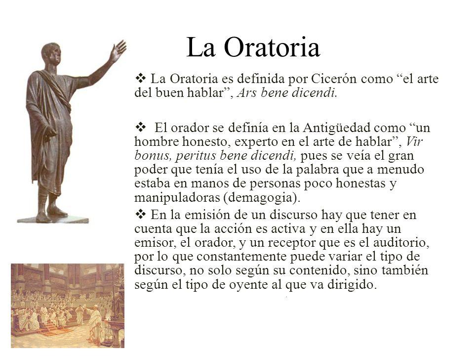 La Oratoria La Oratoria es definida por Cicerón como el arte del buen hablar , Ars bene dicendi.