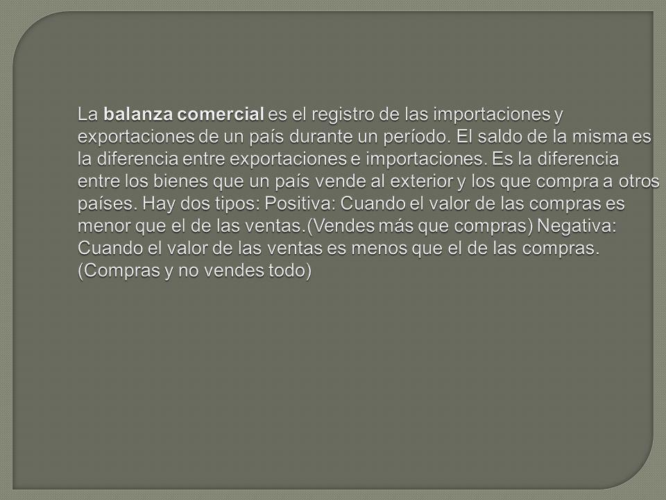 La balanza comercial es el registro de las importaciones y exportaciones de un país durante un período.