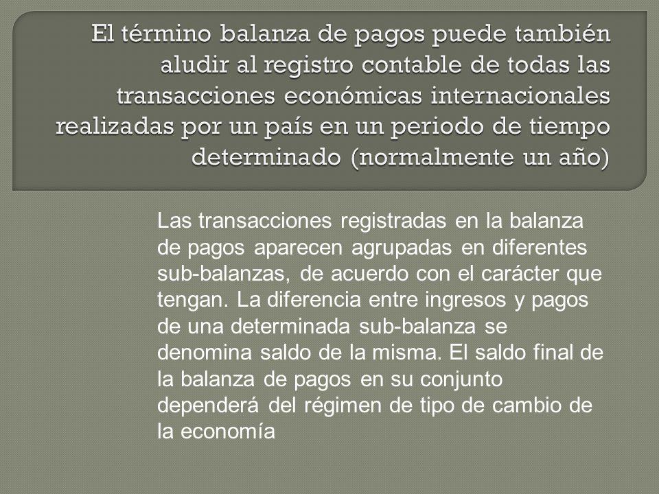 El término balanza de pagos puede también aludir al registro contable de todas las transacciones económicas internacionales realizadas por un país en un periodo de tiempo determinado (normalmente un año)