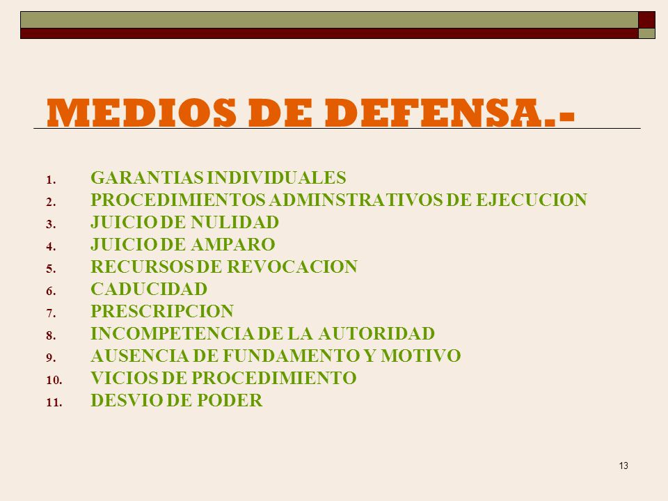 MEDIOS DE DEFENSA.- GARANTIAS INDIVIDUALES