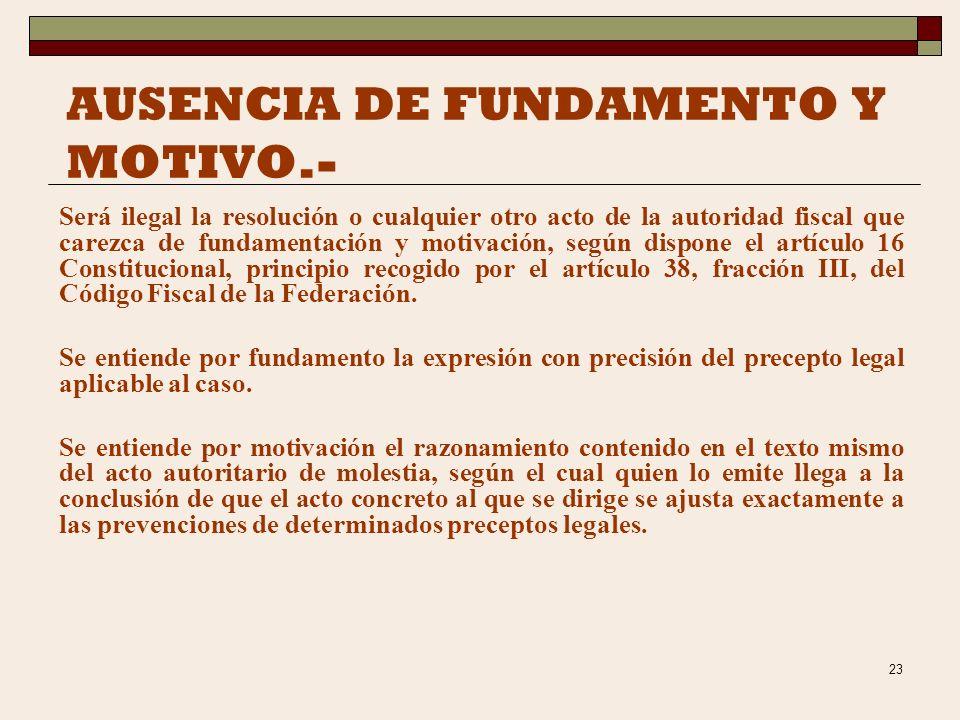AUSENCIA DE FUNDAMENTO Y MOTIVO.-