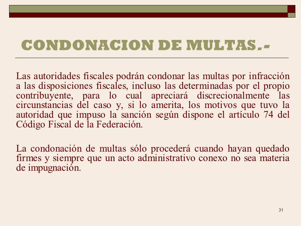 CONDONACION DE MULTAS.-