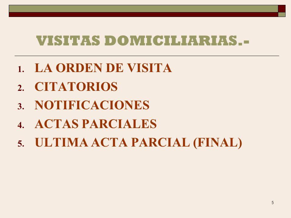 VISITAS DOMICILIARIAS.-