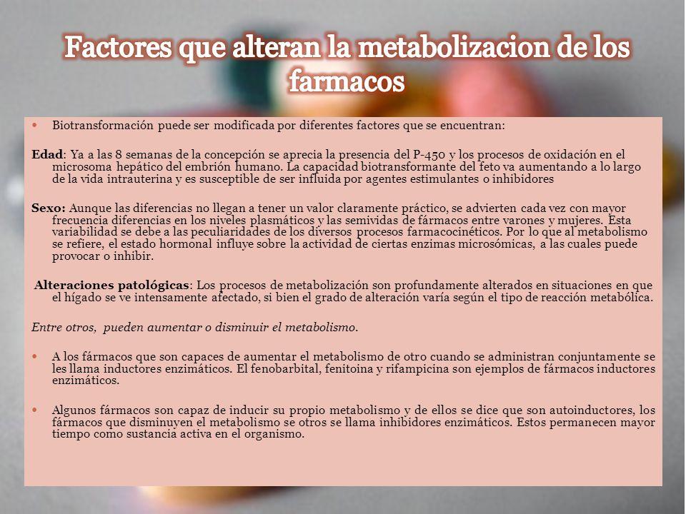 Factores que alteran la metabolizacion de los farmacos