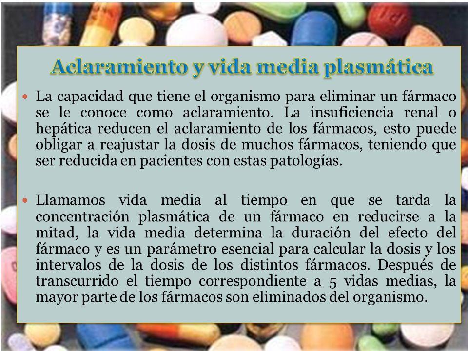 Aclaramiento y vida media plasmática