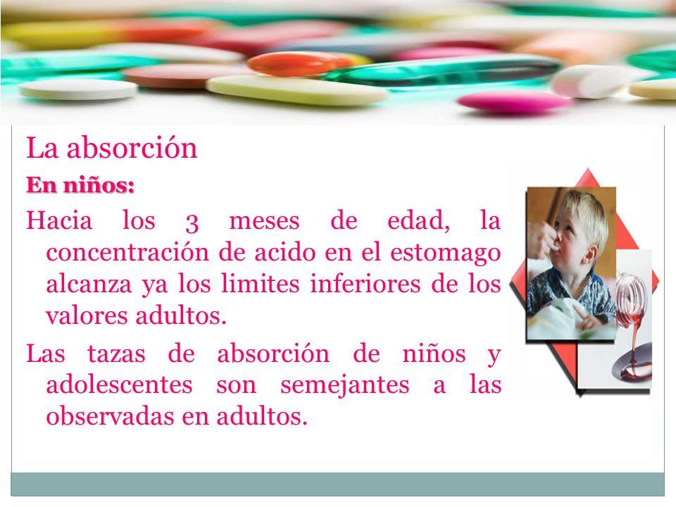 La absorción En niños: Hacia los 3 meses de edad, la concentración de acido en el estomago alcanza ya los limites inferiores de los valores adultos.