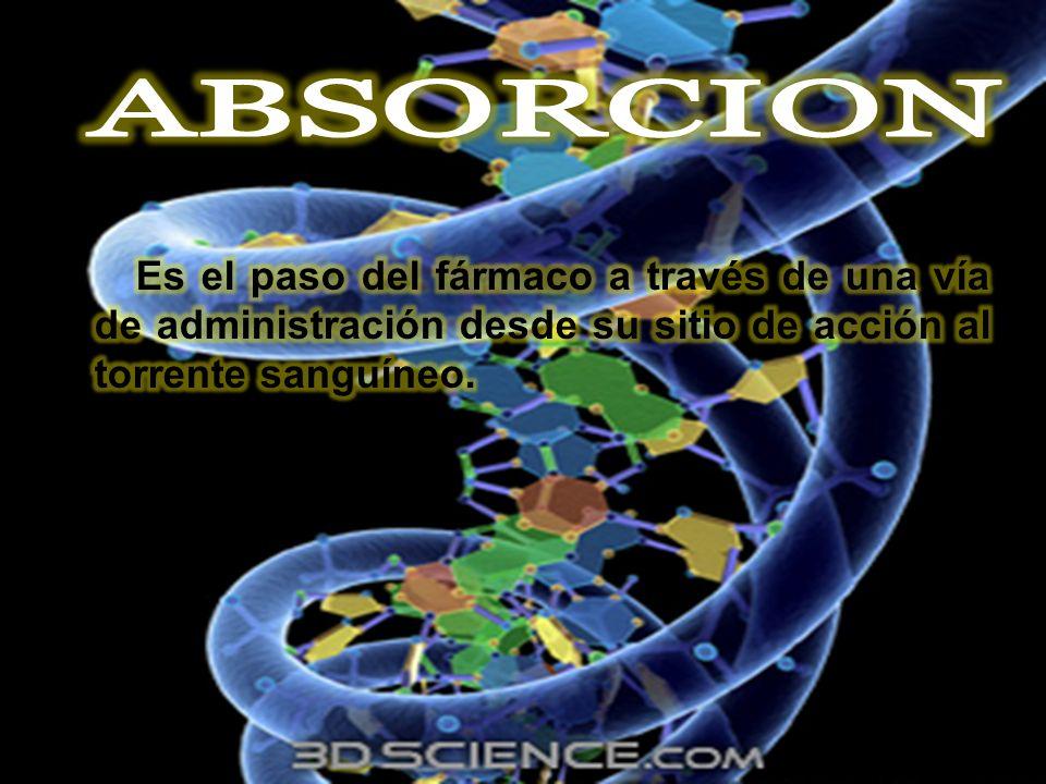 ABSORCION Es el paso del fármaco a través de una vía de administración desde su sitio de acción al torrente sanguíneo.