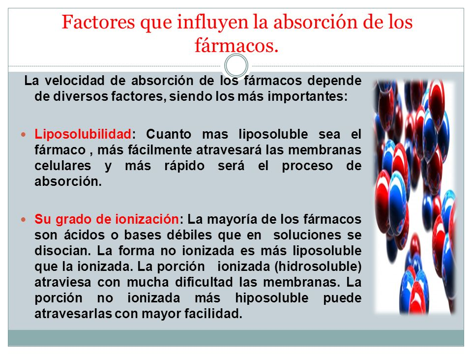 Factores que influyen la absorción de los fármacos.