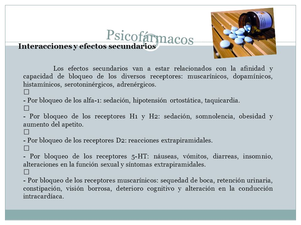 Psicofármacos Interacciones y efectos secundarios
