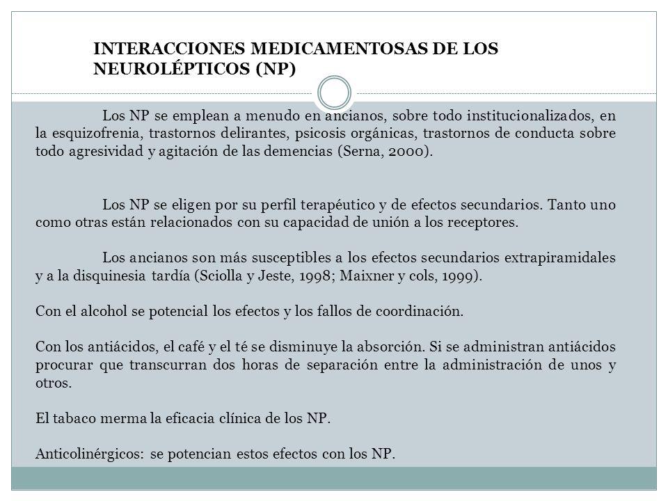 INTERACCIONES MEDICAMENTOSAS DE LOS NEUROLÉPTICOS (NP)