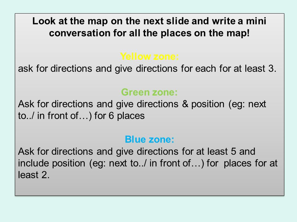 Look at the map on the next slide and write a mini conversation for all the places on the map!