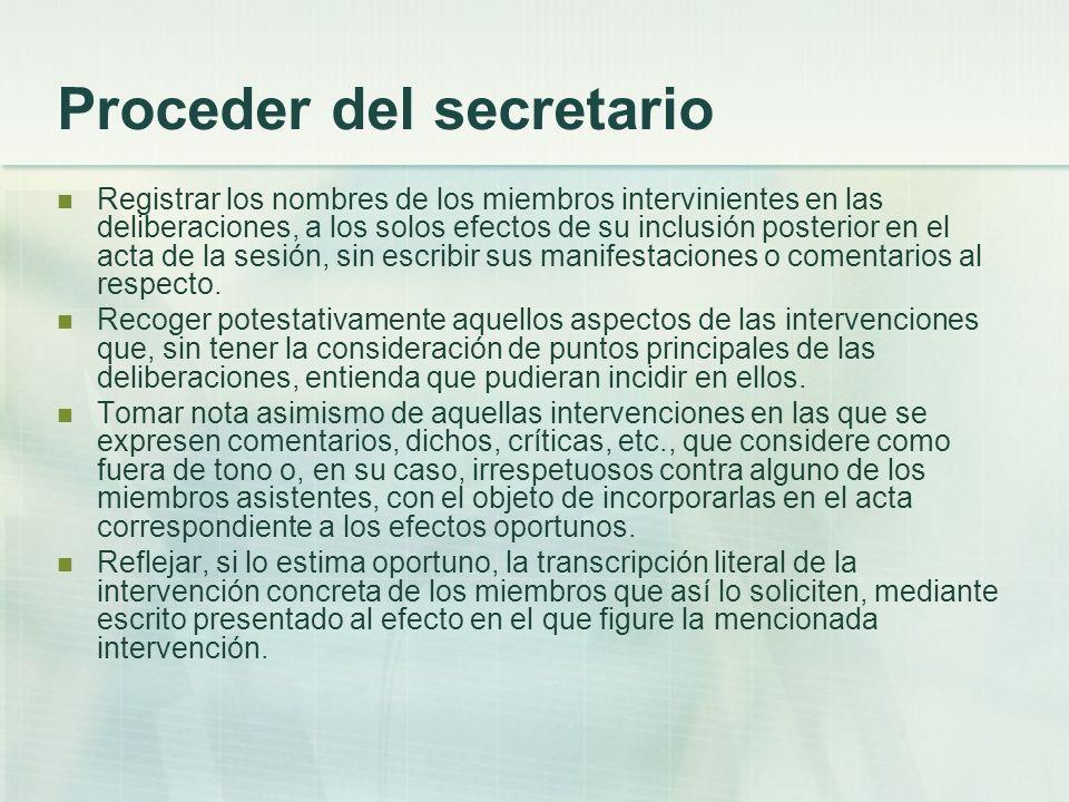 Proceder del secretario