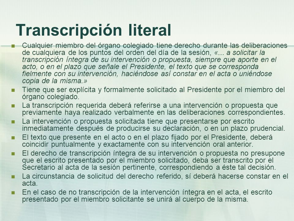 Transcripción literal