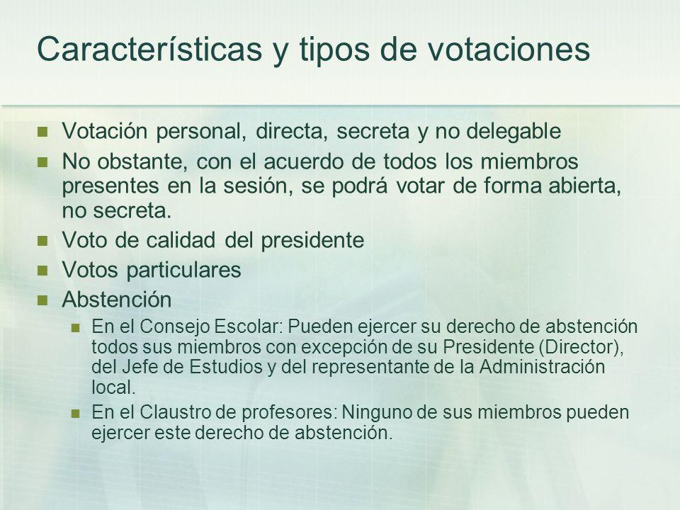 Características y tipos de votaciones