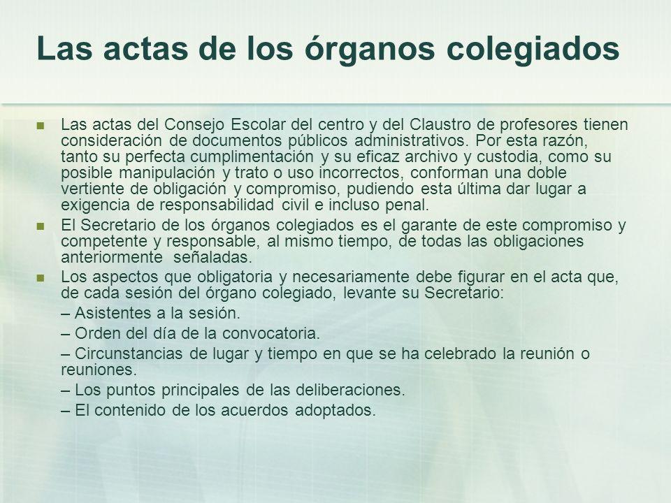 Las actas de los órganos colegiados