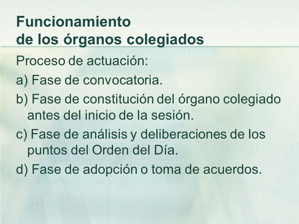 Funcionamiento de los órganos colegiados