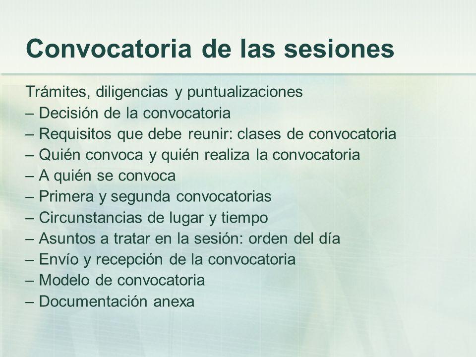 Convocatoria de las sesiones