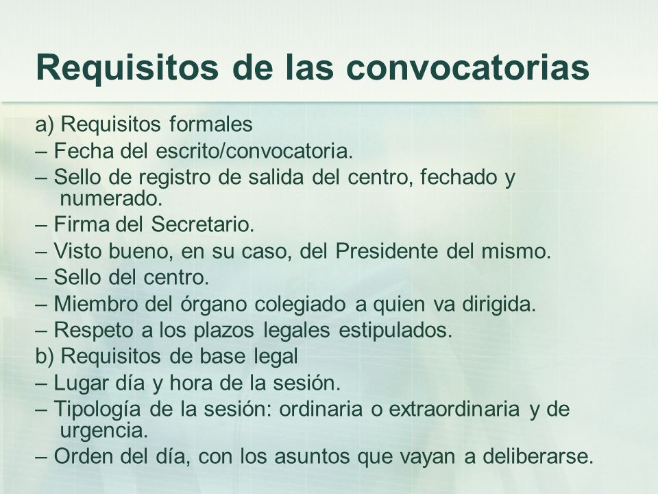 Requisitos de las convocatorias