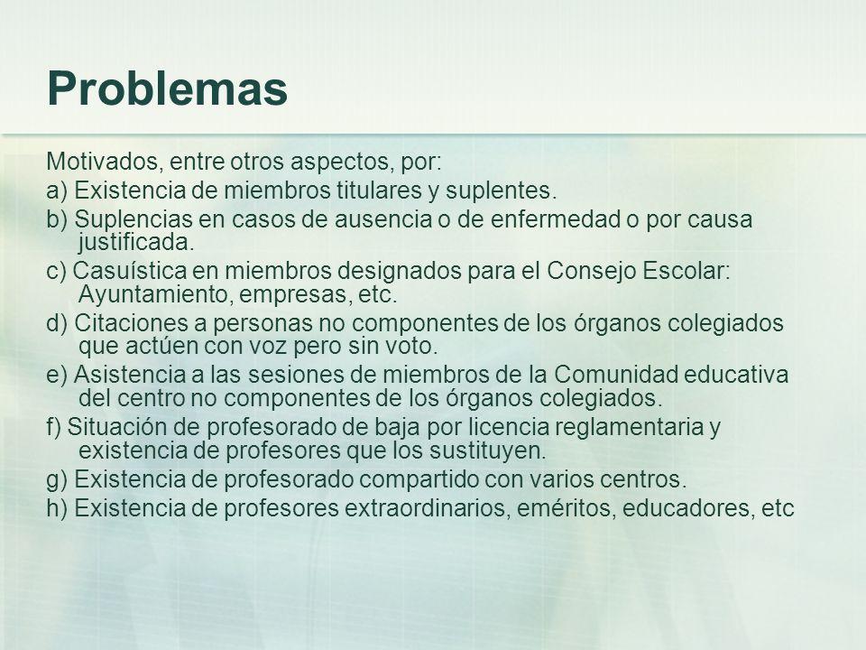 Problemas Motivados, entre otros aspectos, por: