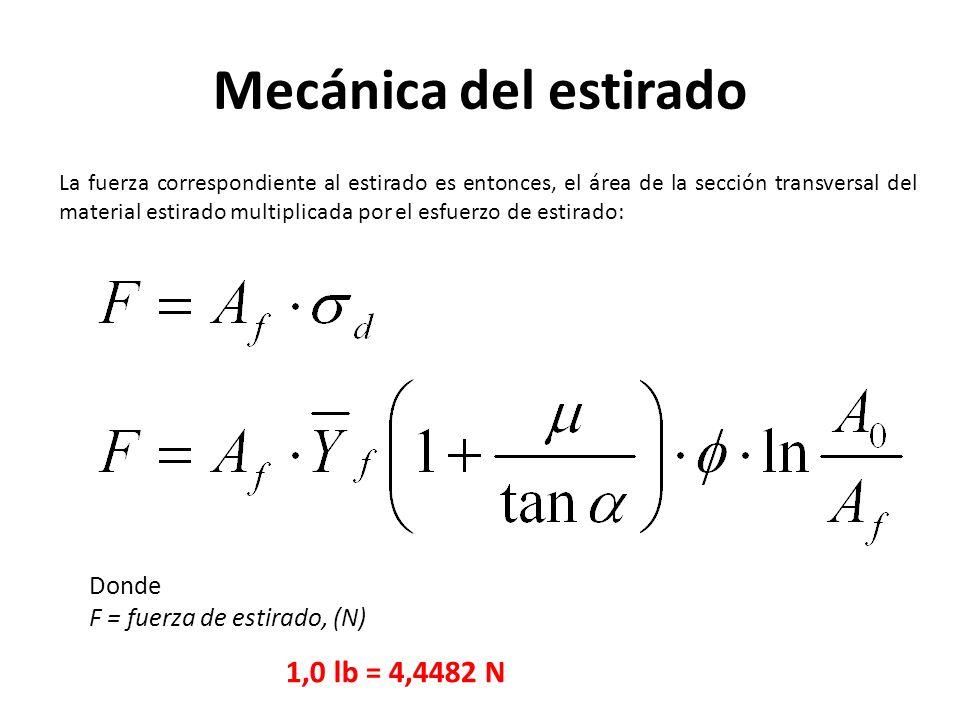 Mecánica del estirado 1,0 lb = 4,4482 N Donde