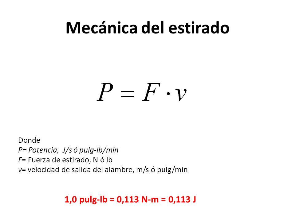 Mecánica del estirado 1,0 pulg-lb = 0,113 N-m = 0,113 J Donde