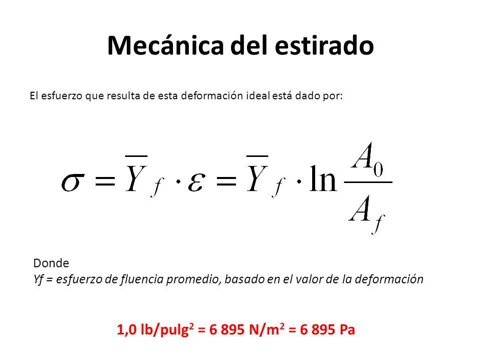 Mecánica del estirado 1,0 lb/pulg2 = 6 895 N/m2 = 6 895 Pa Donde