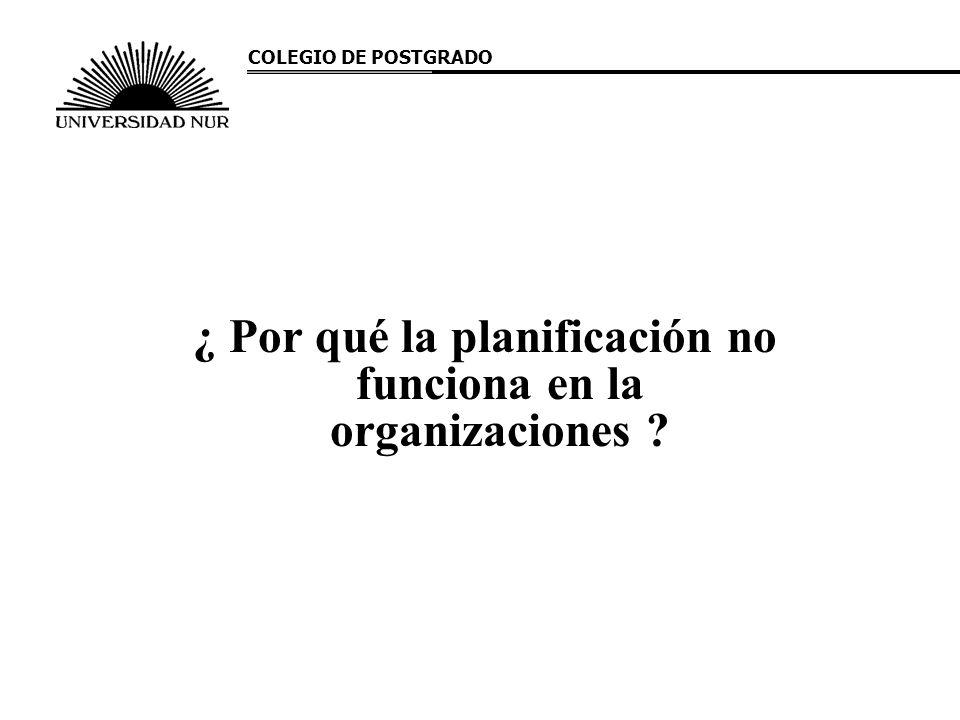 ¿ Por qué la planificación no funciona en la organizaciones
