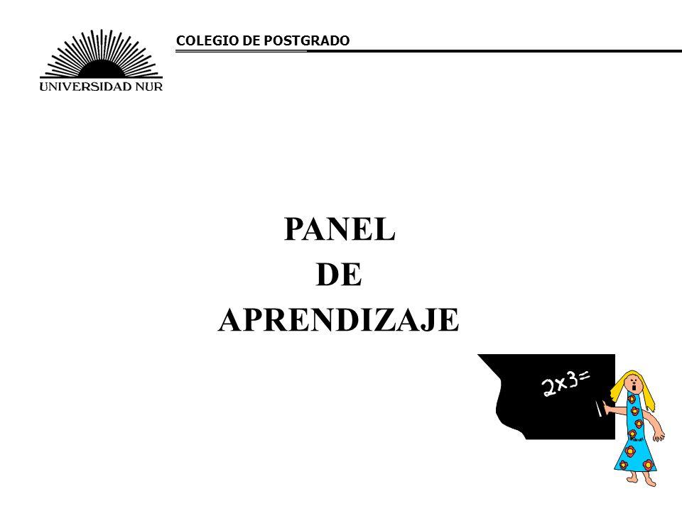 COLEGIO DE POSTGRADO PANEL DE APRENDIZAJE