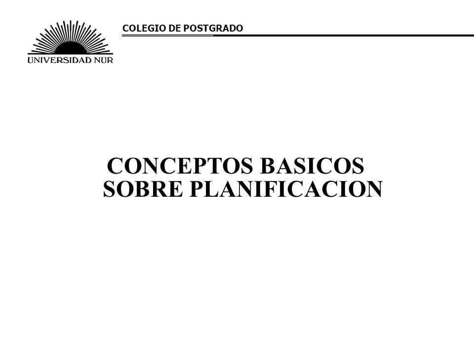 CONCEPTOS BASICOS SOBRE PLANIFICACION