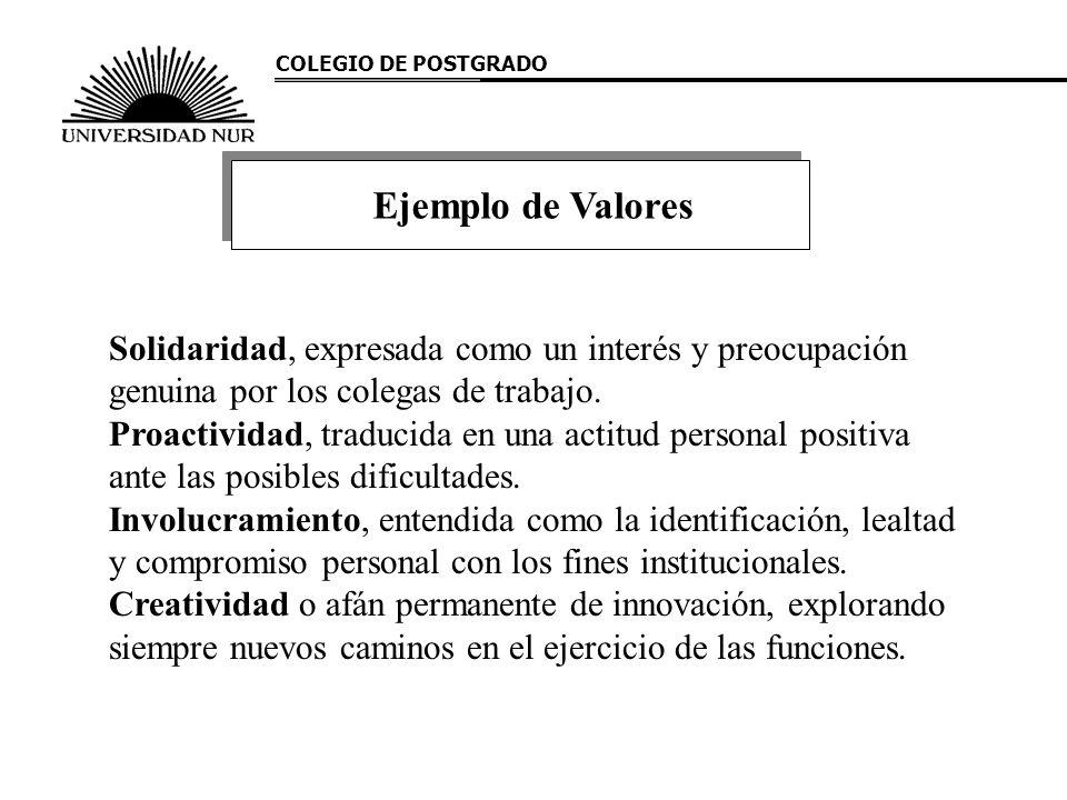 COLEGIO DE POSTGRADO Ejemplo de Valores. Solidaridad, expresada como un interés y preocupación genuina por los colegas de trabajo.