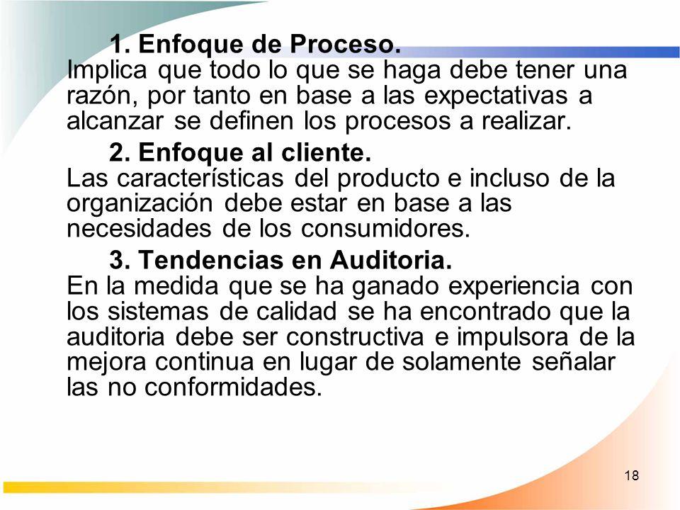 1. Enfoque de Proceso. Implica que todo lo que se haga debe tener una razón, por tanto en base a las expectativas a alcanzar se definen los procesos a realizar.