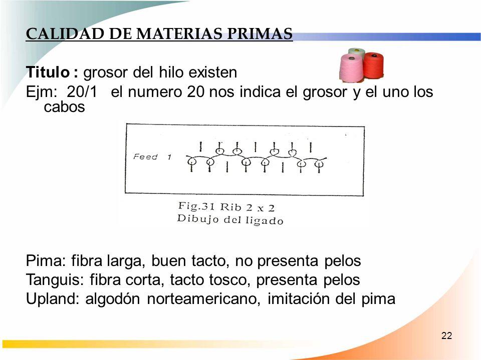 CALIDAD DE MATERIAS PRIMAS