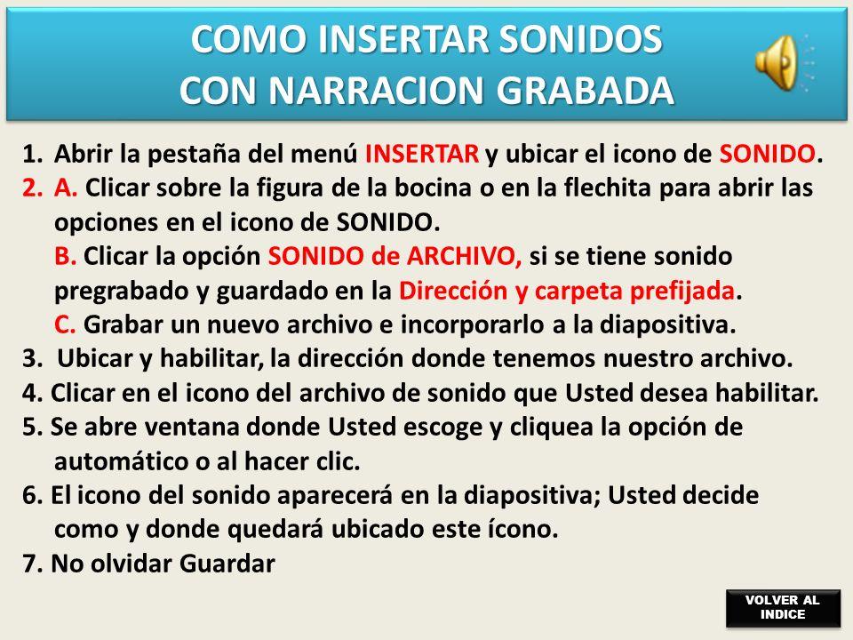 COMO INSERTAR SONIDOS CON NARRACION GRABADA