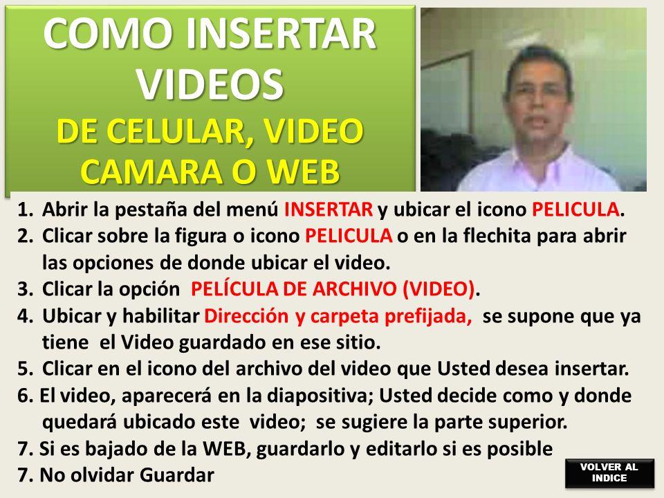DE CELULAR, VIDEO CAMARA O WEB