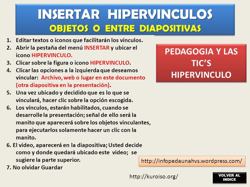 INSERTAR HIPERVINCULOS OBJETOS O ENTRE DIAPOSITIVAS